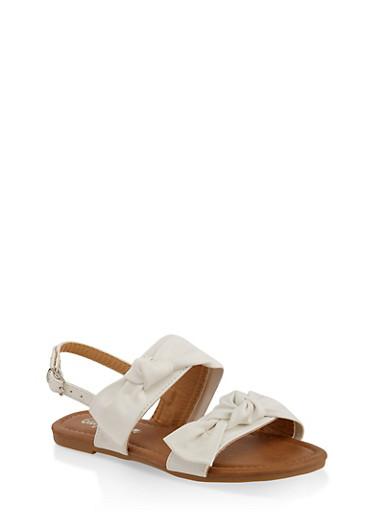 Girls 11-4 Bow Detail Sandals,WHITE,large
