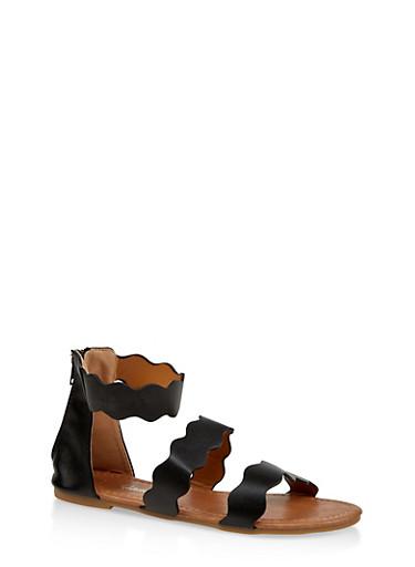 Girls 11-4 Wavy Strap Sandals,BLACK,large