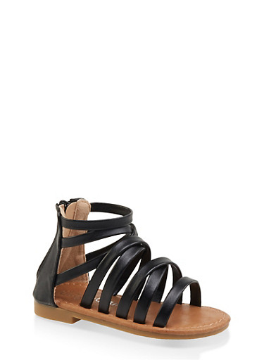 Girls 5-10 Strappy Faux Leather Sandals,BLACK,large