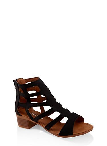 Girls 11-4 Caged Strap Zip Back Sandals,BLACK,large