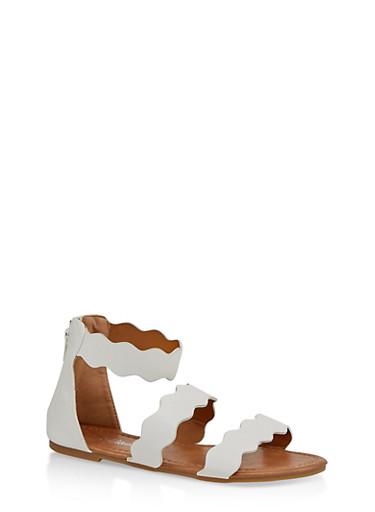 Girls 11-4 Wavy Strap Sandals | White,WHITE,large
