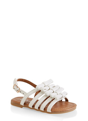 Girls 5-10 Bow Caged Sandals,WHITE,large