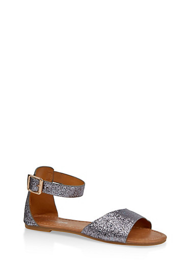 Girls 11-4 Glitter Ankle Strap Sandals,GRAY,large