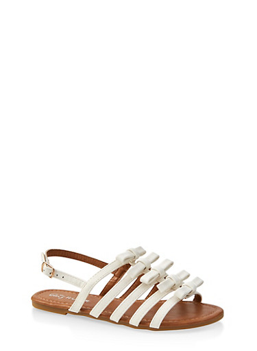 Girls 11-4 Bow Caged Sandals,WHITE,large