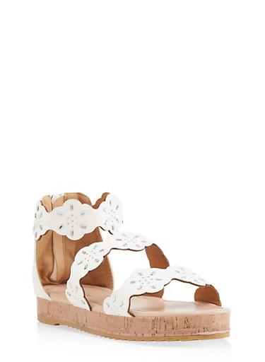 Girls 11-4 Rhinestone Studded Platform Sandals,WHITE,large