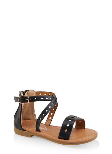 Girls 5-10 Metallic Laser Cut Sandals,BLACK,large