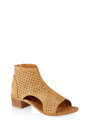 Girls 11-4 Perforated Cut Out Booties,TAN,large