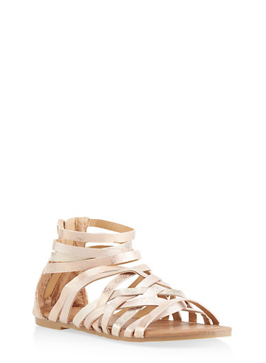 Girls 11-4 Criss Cross Multi Ankle Strap Sandals,ROSE,large
