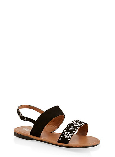 Girls 11-4 Two Band Studded Sandals,BLACK,large