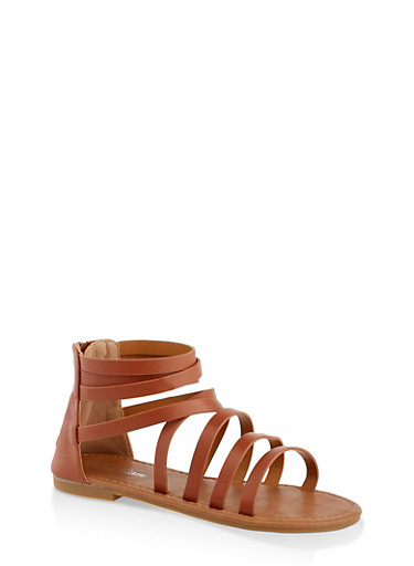 Girls 11-4 Criss Cross Zip Back Sandals,TAN,large