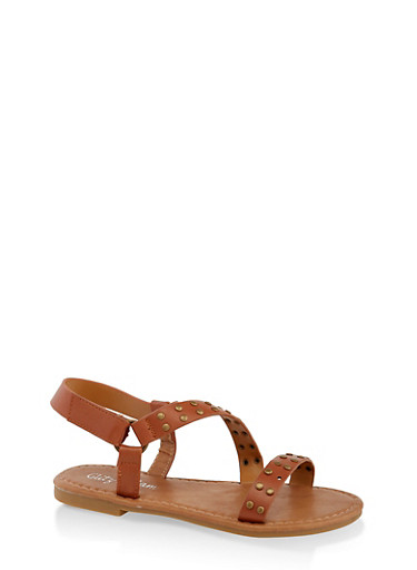 Girls 11-4 Studded Asymmetrical Strap Sandals,TAN,large