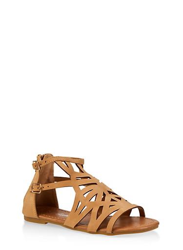 Girls 11-4 Laser Cut Double Strap Sandals,TAN,large
