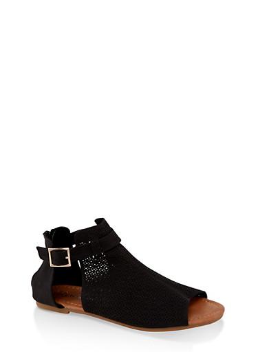 Girls 11-4 Laser Cut Buckle Strap Sandals,BLACK,large