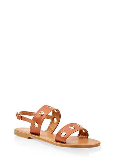 Girls 11-4 Grommet Detail Sandals,TAN,large