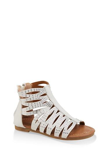 Girls 5-10 Rhinestone Studded Sandals,WHITE,large