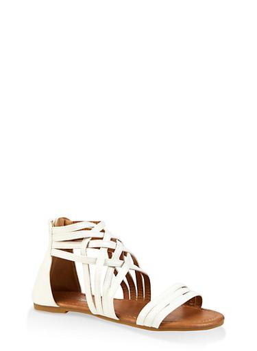 Girls 11-4 Criss Cross Sandals,WHITE,large