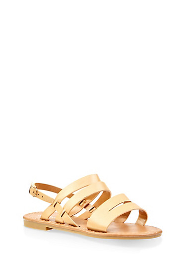 Girls 11-4 Strappy Slingback Sandals,TAN,large