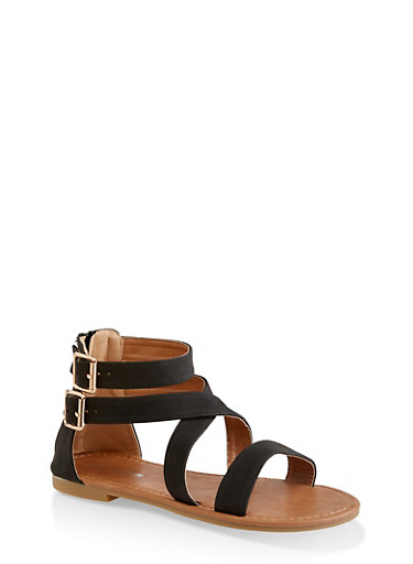 Girls 11-4 Criss Cross Two Buckle Ankle Strap Sandals,BLACK,large