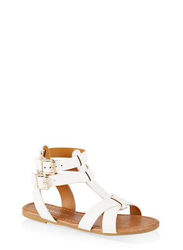 Girls 11-4 Buckle Criss Cross Sandals,WHITE,large