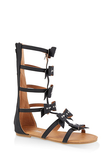 Girls 11-4 Tall Studded Bow Gladiator Sandals,BLACK,large