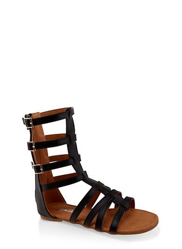 Girls 11-4 Tall Buckle Gladiator Sandals,BLACK,large