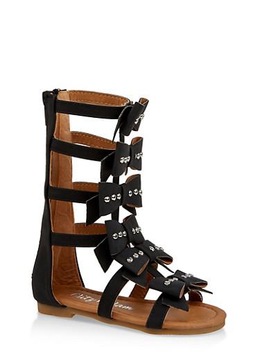 Girls 5-10 Tall 6 Bow Gladiator Sandals,BLACK,large