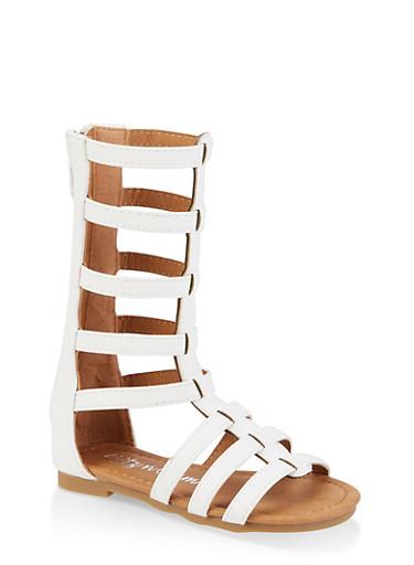 Girls 5-10 Zip Back Tall Gladiator Sandals,WHITE,large
