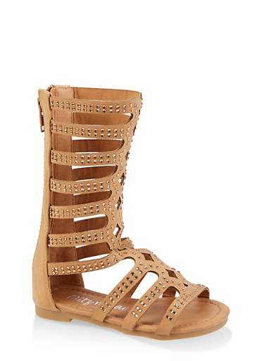 Girls 5-10 Studded Tall Gladiator Sandals,TAN,large