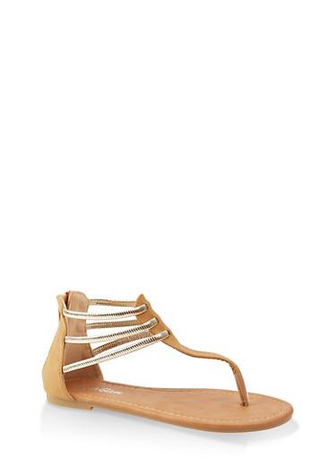 Girls 11-4 Metallic Strappy Thong Sandals,TAN,large