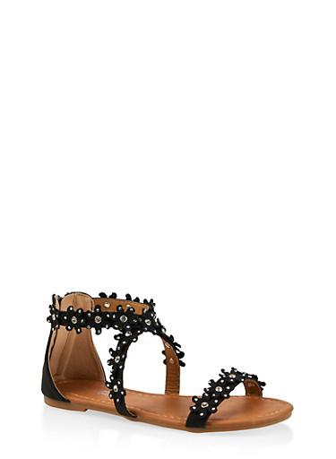 Girls 11-4 Flower Studded Sandals,BLACK,large