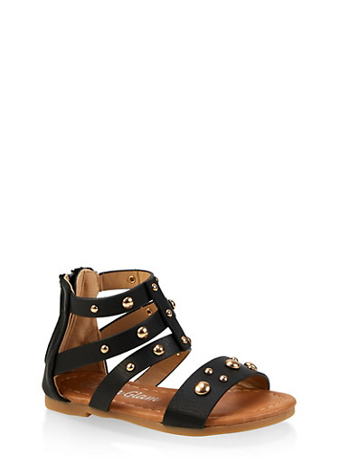 Girls 5-10 Studded Faux Leather Sandals,BLACK,large