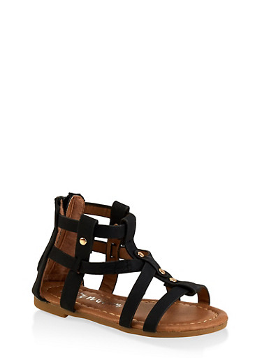 Girls 5-10 Studded Zip Back Gladiator Sandals,BLACK,large