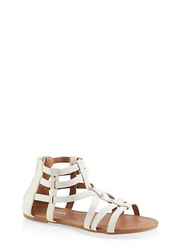 Girls 11-4 Studded Criss Cross Gladiator Sandals,WHITE,large
