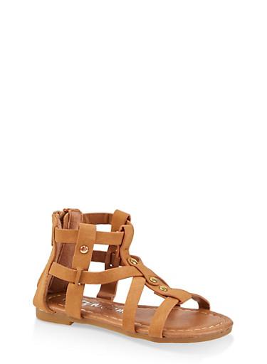 Girls 5-10 Caged Gladiator Sandals,TAN,large
