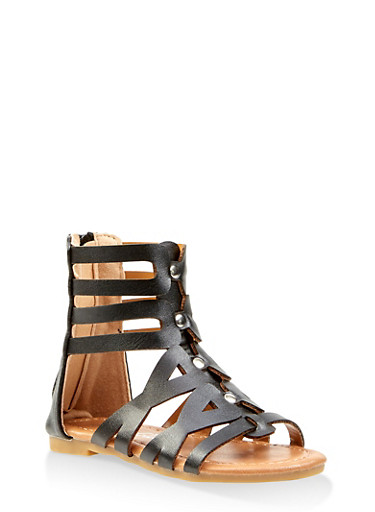 Girls 5-10 Tall Studded Gladiator Sandals | 1737064790279,BLACK,large