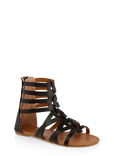 Girls 11-4 Tall Zip Back Gladiator Sandals,BLACK,large
