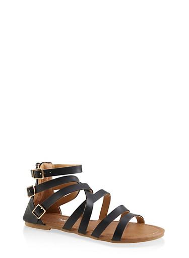 Girls 11-4 Triple Ankle Strap Sandals,BLACK,large