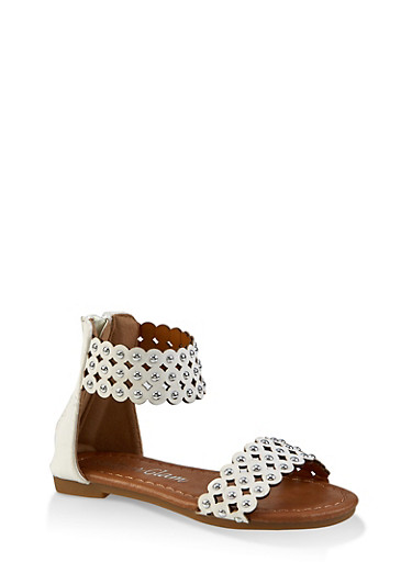 Girls 5-10 Studded Thick Ankle Strap Sandals,WHITE,large