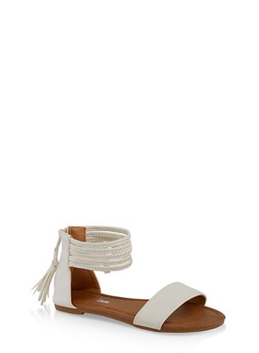 Girls 11-4 Braided Strap Sandals,WHITE,large