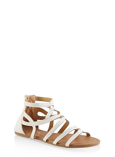 Girls 11-4 Metallic Detail Sandals,WHITE,large