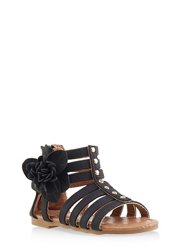 Girls 5-10 Studded Flower Detail Gladiator Sandals,BLACK,large