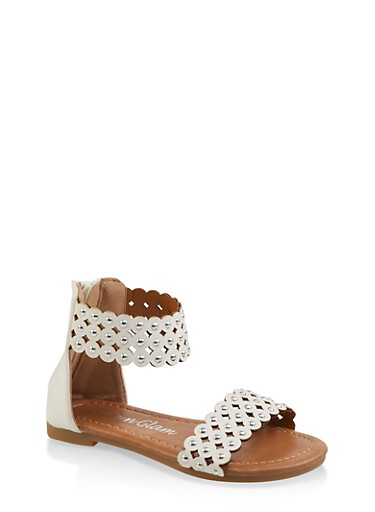 Girls 5-10 Cut Out Studded Sandals,WHITE,large