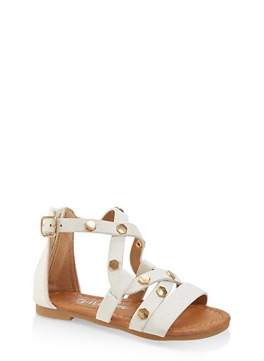 Girls 5-10 Studded Criss Cross Strap Sandals,WHITE,large
