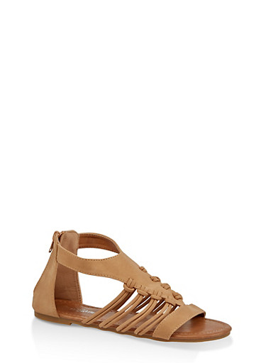 Girls 11-4 Multi Strap Zip Back Sandals,TAN,large