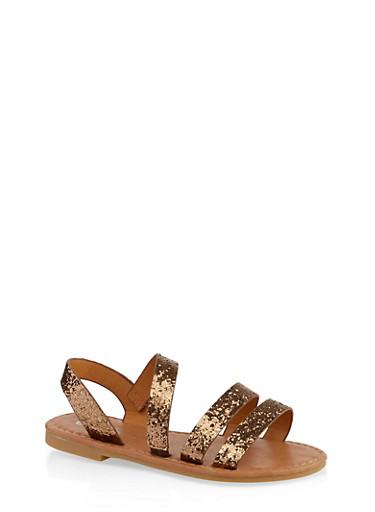 Girls 11-3 Glitter Triple Band Sandals,BRONZE,large