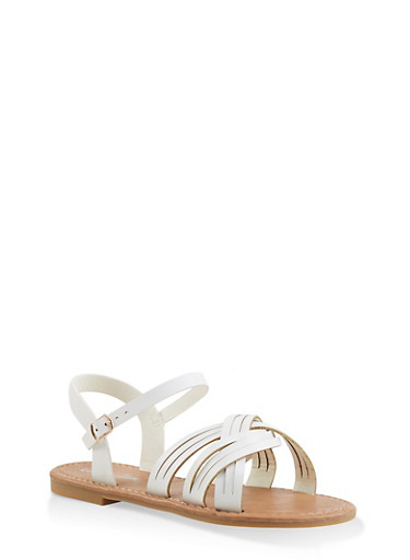 Girls 11-4 Criss Cross Strap Sandals,WHITE,large
