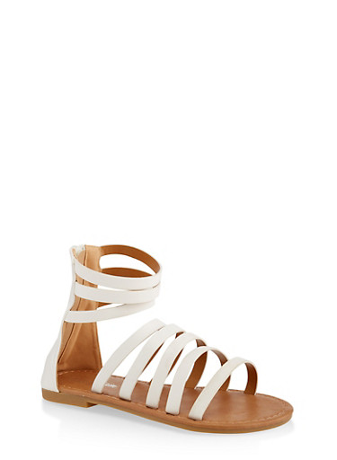 Girls 11-4 Tall Strappy Sandals,WHITE,large