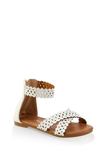 Girls 5-10 Laser Cut Zip Back Sandals,WHITE,large