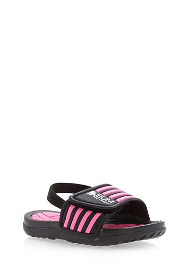 Girls 5-10 Athletic Slides,BLACK,large