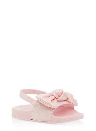 Girls 5-10 Satin Bow Sling Back Sandals,PINK,large